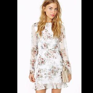 For Love & Lemons Floral Long Sleeved Mini Dress